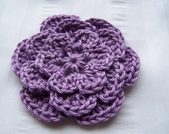 Crochet flower 3 inch Pima cotton purple set of one flower