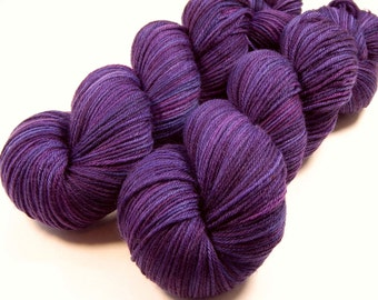 Hand Dyed Sock Yarn - Sock Weight Superwash MCN (Merino Wool/Cashmere/Nylon) Yarn - Blackberry Tonal - Knitting Yarn, Wool Yarn, Purple