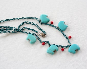 """BEAR MEDICINE, Magnesite Bear Fetishes with Red Coral on blue steel chain, 20"""" Necklace"""
