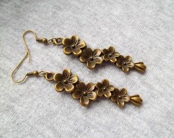 Flower Earrings, Vintage Look, Flower Pendant, Steampunk Flower, Hippy Flower Jewelry