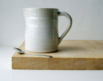 Straight sided traditional pouring jug - wheel thrown and glazed in brilliant white