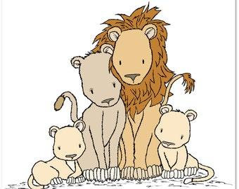 Lion Nursery Art Print -- One Big Happy Family -- Lion Family Art