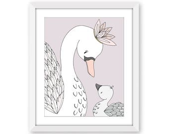 Swan Nursery Art -- Swan Art -- Swan Mama and Baby -- My Darling -- Girl Nursery Art -- Kids Wall Art -- Children Art -- Bird Nursery Art
