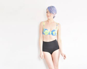 yellow green blue floral bikini top . 1980 bright swimsuit bra .extra small.small.xs
