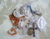 Some STERLING CRAFT Lot Vintage Religious Medals Charms Odds & Ends Supply