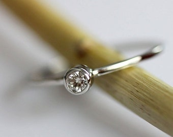 Holidays Sale - Diamond 14K White Gold Ring, Gemstone Ring, Stacking Ring - Made To Order