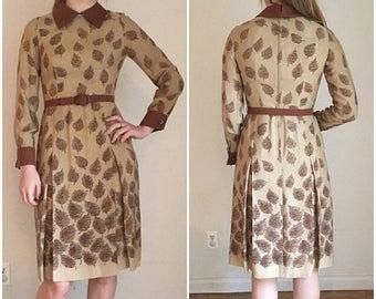 ON SALE 60s Dress, Mid Century Modern, Mid Century Dress, Mod Era, 60s Midi Dress, Peter Pan Collar, Collared Dress, Neutral, Pleated Dress,