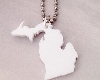 Michigan Jewelry, White Acrylic Necklace with Upper Peninsula and Lower Peninsula of Michigan, State Necklace