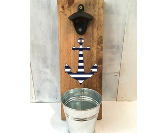anchor bottle opener, rustic bottle opener, cottage decor, groomsmen gift, outdoor bar, anchor bottle opener, bar accessory, nautical
