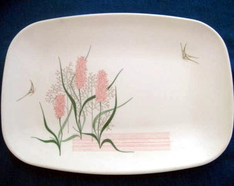 Retro Brookpark Modern Design Pink Hyacinth Platter, HTF, designed by Joan Luntz,  1960s 1950s, on Etsy by TheRetroLife