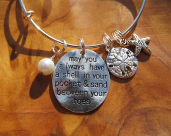 Beach Wedding - May you Always Have a Shell in Your Pocket - Personalize -Choose any crystal or pearl, Wedding Party, Bridal Party