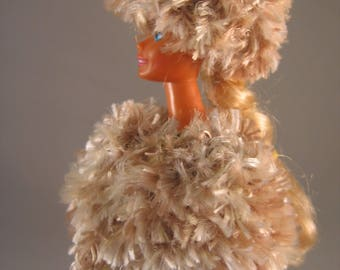 Hand Knit Cape Hat Doll Clothes Shades of Tan Fun Fur  fits 11 1/2 inch fashion doll such as Barbie
