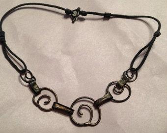 SALE Tribal Necklace Leather Metal Swirls