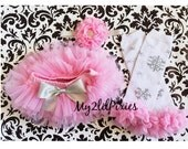 Pink Tutu Bloomers, snowflake Leg Warmers, and Headband- Christmas Baby set, Pink Bloomers. Snowflake Leg warmers. Ruffle Leg warmers, pink