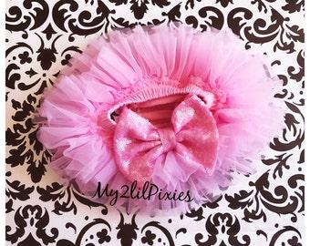 PINK Tutu Bloomer ruffles all the way around, Pink Sequin BowBloomers, Chiffon Baby Bloomer, Diaper cover, newborn tutu bloomer