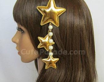Gold Triple Star Hair Clip Brooch with White Pearls- Lolita Fairy Kei Decora Kawaii Shooting Star Hair Accessory EGL
