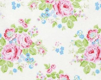 White Rambling Rose  PWTW129-WHT Cotton Fabric by Tanya Whelan Free Spirit