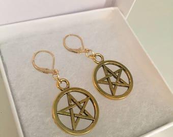 Goldtone Pentagram Star Earrings 25mm