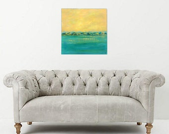 Colorful abstract landscape in yellow-orange and teal tones, 20x20 square abstract painting with water, land in the distance