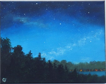 Night sky painting with stars, and milky way, lake with camps, 11x14 night landscape painting