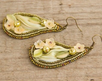 Bead embroidered earrings with Shibori silk ribbon
