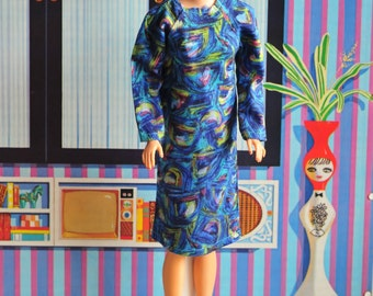 Barbie modern art print dress with not great vest outfit, vintage 60s handmade