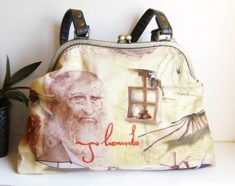 leonardo da vinci fabric bag , crafts  , handmade,Claudia Candeias, ready to ship