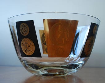 Vintage Large CERA Bowl  - Coin Pattern - Clear - Black - Gold - Hollywood Regency