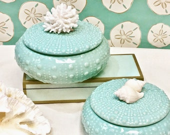 Beach Decor - Ceramic 'Sea Urchin' Boxes - 2 sizes available - storage, bathroom, room decor