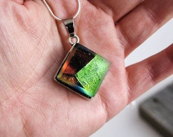 burgundy lime green, space pendant galaxy, gift for her, outer space jewelry, coworker gift, pendant necklace, dichroic glass, glass jewelry