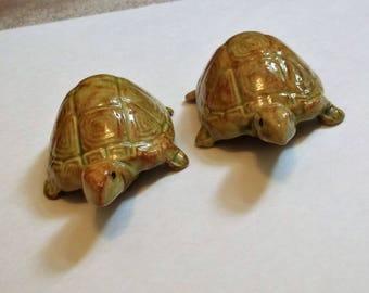 Vintage Anatomically Correct Turtle Pair..Naughty Ned and Nelda..1970's Ceramic Turtle Figurines
