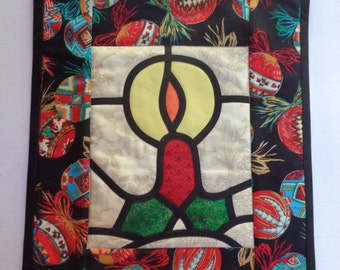 Christmas Stained Glass Candle in the Window Wall Quilt or Candle Mat