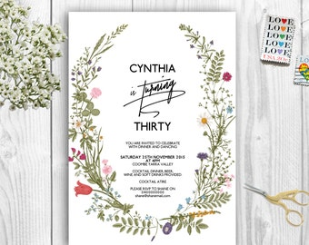BOHO Birthday Invitation Instant Download Any Age 16 18 21 30 40 50 60 70 80 90 100