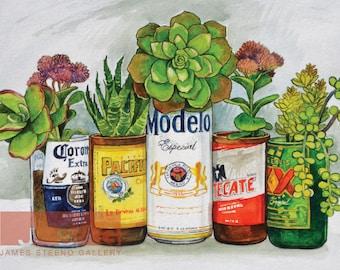 Mexican Beer Garden Watercolor Art Print by James Steeno
