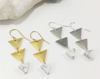 Triangle Marble Beaded Earrings | Gold | Silver | Geometric