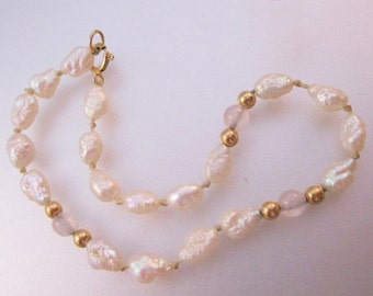 XMAS SALE Vintage 14k Fresh Water Pearl & Rock Crystal Beaded Bracelet Fine Jewelry Jewellery