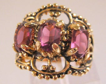 Vintage Costume Amethyst Antique Style Ring 18k GE Size 6 Old New Stock