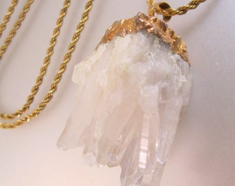 """36"""" GF Rope Chain w/ Natural Rock Crystal Cluster Pendant Necklace Vintage Jewelry Jewellery"""