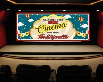 Personalized Home Cinema Welcome Sign with Stars and Hot Air Balloons, Home Theater Decor, Theater Signs, Movie Signs, Neon Light Art C1400