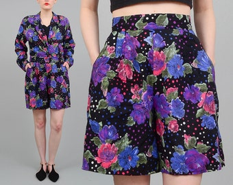 80s Two Piece Matching Set, High Waist Shorts, Floral Shorts, Cropped Jacket, 80s Floral Jacket, Retro 2 pc Set, Black Purple Pink, Medium M
