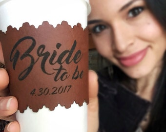Bride to be Gift, Engagement Gift for Bride, Coffee Cozy, Wedding Coffee Sleeve, Future Mrs