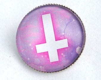 Gothic Inverted Cross Brooch,Inverted Cross Pin,Gothic,Pastel Goth,Kawaii,Creepy Jewelry
