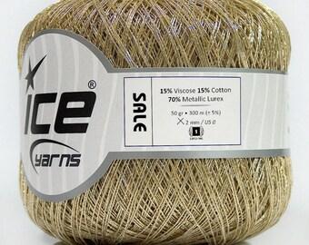 Gold Metallic Thread Ice 43054 Close to Size 8 50gr 328yds Cross Stitch Crochet