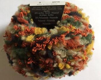 Filatura di Crosa Folly #3 Copper Green Yellow Black Cream Wool Cotton Blend Boucle