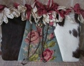 Genuine Cowhide, Needlepoint and Velvet Chenille, Roses, Clutch