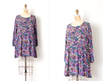 vintage 1980s dress / abstract floral print 80s babydoll dress / Betsey Johnson