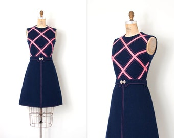 vintage 1960s dress /  mod wool 60s dress /  navy blue and pink (medium m)