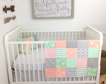 Baby Girl Blanket, Minky Blanket, Crib Bedding, Blush Pink, Mint Green, Gray, Grey, Aztec Nursery, Tribal Nursery, Bucks, Buck Head