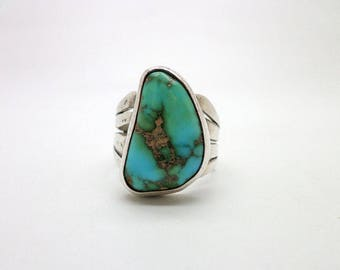 Ring Turquoise Silver Southwest Style Great Color Wonderful Stone