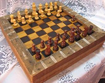 Wormy Chestnut Chess Set Reclaimed 1830's Barn Beams
